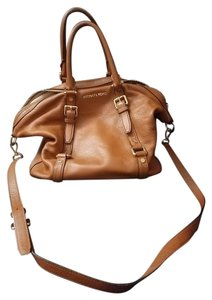 Michael Kors Leather Brown Brown And Gold Satchel in cognac