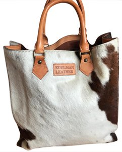 Edelman Leather Cowhide Sac Plat Tote Tote in Brown & White Cowhide