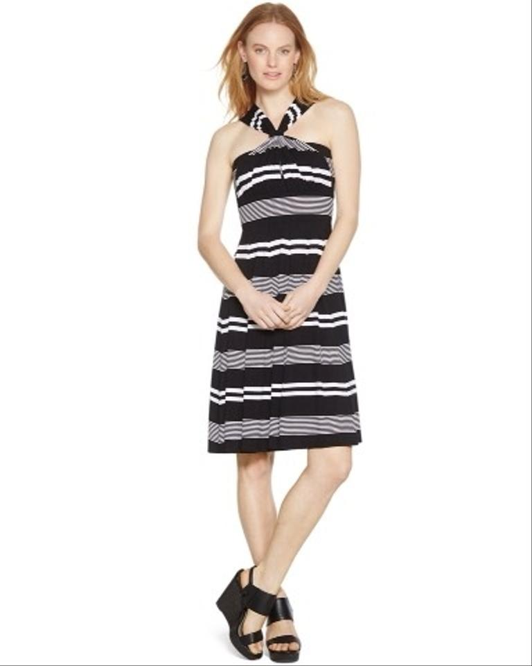 Casual Dress (short) Black And White Stripe 57% Off