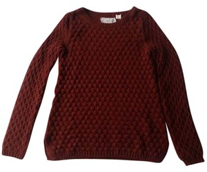 Anthropologie Field Flower Popcorn Burgundy Knit Sweater