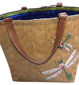 Kate Spade Beach Butterfly Embroidered Straw Beach Bag
