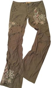 Miss Me Embroidered Embellished Studs Floral Cargo Pants green