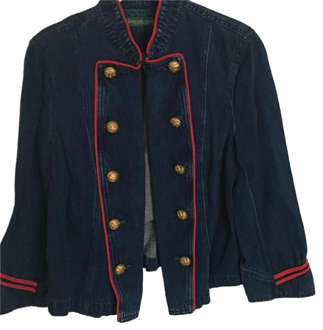 Item - Blue Denim Red Piping Gold Tone Buttons with Insignia Jacket Size 8 (M)