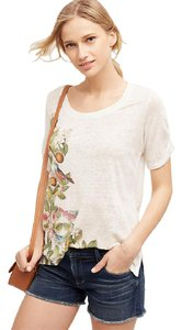 Anthropologie Meadow Rue Beach Blossom Tee Linen Tee T Shirt MULTI