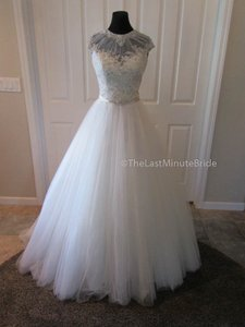 Allure Bridals Cafe Ivory Silver Lace and Tulle 9301 Feminine Wedding Dress Size 14 (L)
