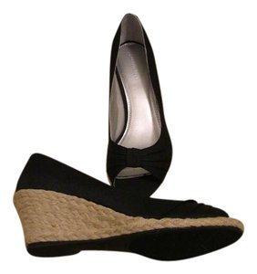 Naturalizer Silk Open Toe Black Wedges