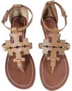 Tory Burch Sandal Gold Tone Hardware Leather Style No.12158604 Tan Wedges