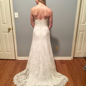 Robert Bullock Bride Strapless Alencon Lace Fit And Flare Gown. Wedding Dress
