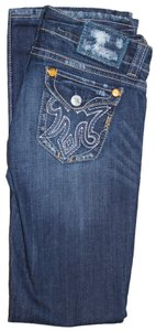 MEK DNM Deodar Oaxaca Embroidery Distressed Boot Cut Jeans-Light Wash