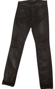 Vince Womens Waxed Skinny Pants Black