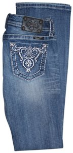 Miss Me Embroidered Studded Distressed Boot Cut Jeans-Light Wash