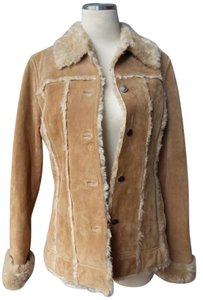 Wilsons Leather Faux Shearling Warm Soft Leather Natural Tan Leather Jacket