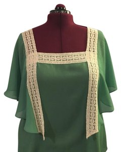 Lane Bryant Top Kelly Green, Cream
