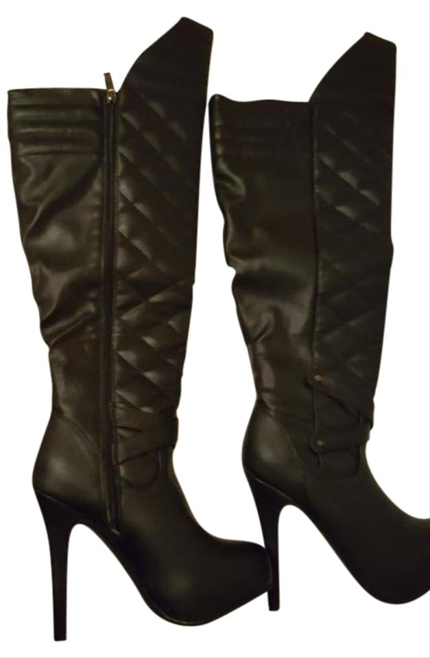 981e52a2345 Just fab Luxe Wide Calf Tall Quilted Tall Size 6 Lux Wide Leg Tall Black  Boots ...