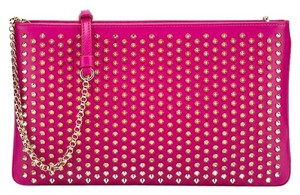 Christian Louboutin Loubiposh Spiked Studded Crossbody Made In Italy Fuchsia Clutch
