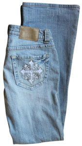 R.E.U.S.E. Embroidered Recycled Cotton Boot Cut Jeans-Distressed