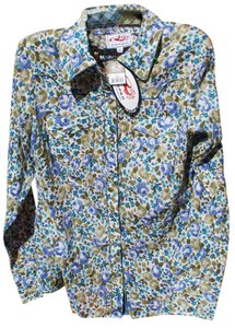 Roper Western Pearl Cowboy Classic Print Button Down Shirt Multi-Colored
