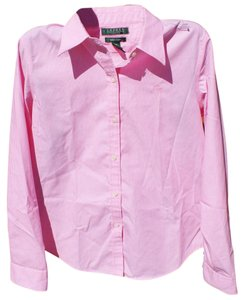 Ralph Lauren Classic Cotton Striped Fitted Structured Button Down Shirt Pink