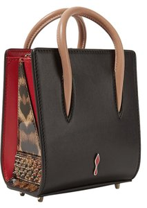 Christian Louboutin Louboutin Red Sole Leather Spiked Tote in black