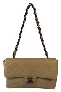 Chanel Front Flap Tortoise Shell Leather Beige Shoulder Bag