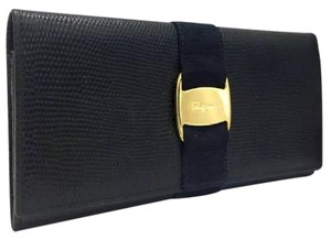 Salvatore Ferragamo Vara Navy Embossed Leather Wallet
