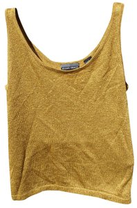 Linda Allard for Ellen Tracy Sparkle Gold Classic Luxury Party Top Gold Sparkle