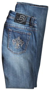 Studio 5 5 Embroidered Studded Boot Cut Jeans-Medium Wash