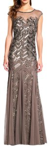 Adrianna Papell Beaded Cap Sleeve Gown Sheer Dress