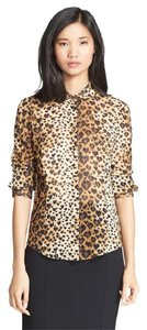 RED Valentino Heart Print Leopard Print Silk Date Night Chic Top Toffee