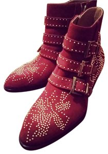 Chloé Chloe Susanna Suede Ankle Studded Red Vervain Boots