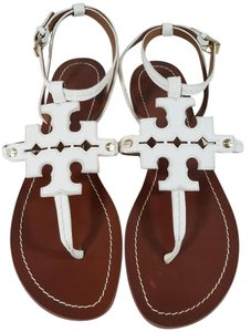 Tory Burch Gold Tone Hardware Leather White Sandals