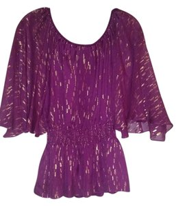 Trina Turk Top Purple with gold metallic accent