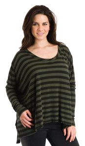 Hard Tail Striped Longsleeve Cotton T Shirt Black and gray