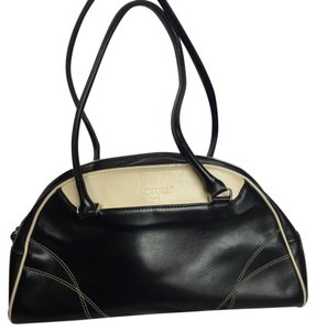 Actuel Paris Smooth Leather Two-tone Leather Satchel in Black & Cream