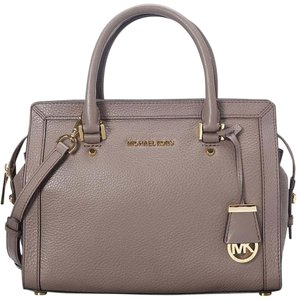 Michael Kors Mk Collins Mk Medium Mk Gray Leather Satchel in Cinder Taupe Gray/Gold Hardware