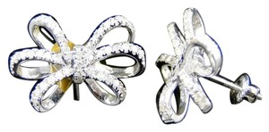 Other White Gold 10K Genuine Diamond Bow Ribbon Stud Earrings 1.0 Ct