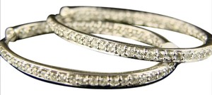 Other 14K Ladies White Gold Diamond Hoops Earrings 1.27Ct