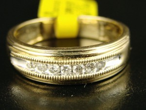 14k Mens Gold Genuine Band 5 Mm Channel Diamond .25 Ct