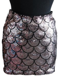 Lily White Summer Sequin Work Casual Mini Skirt Pink & Black