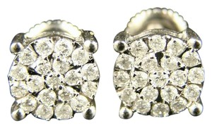 Other 10K Solitaire Look Diamond Stud Earrings 8 Mm Screwback