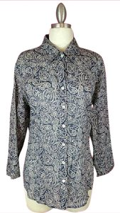 Coldwater Creek Paisley Button Down Shirt Blue White