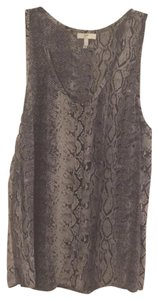 Joie Snakeskin Silk Sleeveless Button Down Python Top Grey