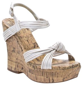Jessica Simpson Strappy Leather Wedge Frost Illusion Platforms