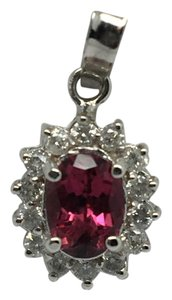 Other 18K White Gold Natural Diamond and Pink Tourmaline Pendant