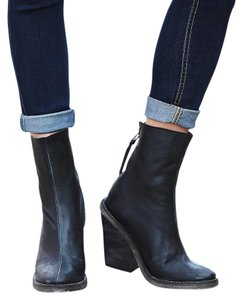 Free People Leather Chunky Heel New With Tags Black Boots