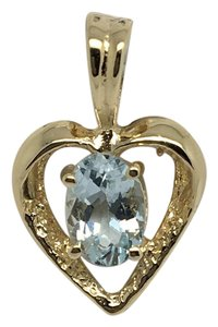 Other 14K Solid Yellow Gold Natural Aquamarine Heart Pendant