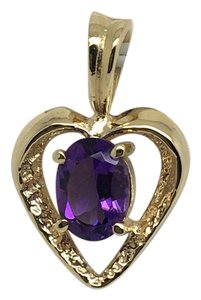 Other 14K Solid Yellow Gold Natural Amethyst Heart Pendant