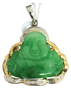 14k yellow gold natural diamond and jade happy buddha pendant charm other 14k yellow gold natural diamond and jade happy buddha pendant mozeypictures Images