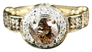 Other 10K LADIES BRIDAL ROUND BROWN ENGAGEMENT DIAMOND SOLITAIRE RING