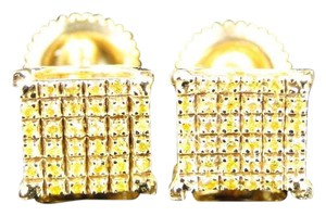 Other Yellow Gold Finish Canary Diamond 7 Mm 4 Prong Studs Earrings 1/4 Ct